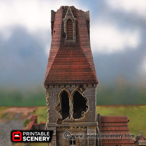 Ruined Medieval Church - 15mm 28mm 32mm 37mm Time Warp Wargaming Terrain Scatter D&D, DnD, Pathfinder, Warhammer, 40k