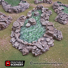 Load image into Gallery viewer, Grotto Cavern Pools - 15mm 28mm Clorehaven and the Goblin Grotto Wargaming Terrain Scatter D&D, DnD, Pathfinder, Warhammer, 40k