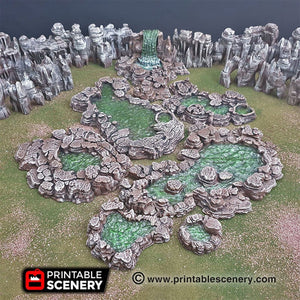 Grotto Cavern Pools - 15mm 28mm Clorehaven and the Goblin Grotto Wargaming Terrain Scatter D&D, DnD, Pathfinder, Warhammer, 40k
