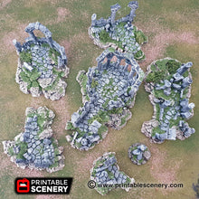 Load image into Gallery viewer, Clorehaven Ancient Ruins - 15mm 28mm 32mm Goblin Grotto Wargaming Terrain Scatter D&D, DnD, Pathfinder, Warhammer, 40k