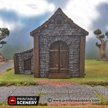 Load image into Gallery viewer, Clorehaven Stone Barn - 28mm 32mm Goblin Grotto Wargaming Terrain D&D, DnD, Pathfinder, SW Legion, Warhammer 40k
