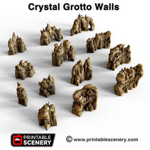 Load image into Gallery viewer, Crystal Grotto Walls - 15mm 28mm 32mm Clorehaven and the Goblin Grotto Mushroom Wargaming Terrain Scatter D&D DnD Pathfinder Warhammer 40k