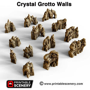 Crystal Grotto Walls - 15mm 28mm 32mm Clorehaven and the Goblin Grotto Mushroom Wargaming Terrain Scatter D&D DnD Pathfinder Warhammer 40k