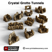 Load image into Gallery viewer, Crystal Grotto Tunnels - 15mm 28mm 32mm Clorehaven and the Goblin Grotto Wargaming Terrain Scatter D&D, DnD, Pathfinder, Warhammer, 40k