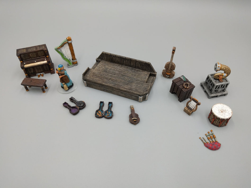 Music and Sound - Musical Instruments Set - 28mm 32mm Hero's Hoard Wargaming Terrain D&D, DnD, Pathfinder, SW Legion, Warhammer