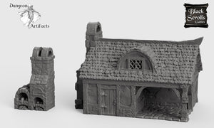 Cottage and Bakery - 15mm 28mm 32mm City of Tarok Wargaming Terrain Scatter D&D DnD Pathfinder Warhammer 40k