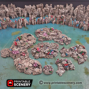 Crystal Grotto Floors - 15mm 28mm Clorehaven and the Goblin Grotto Mushroom Wargaming Terrain Scatter D&D DnD Pathfinder Warhammer 40k