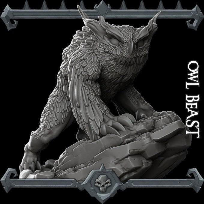 Owl Beast / Owl Bear - Wargaming Miniatures Monster Rocket Pig Games D&D, DnD, Pathfinder, SW Legion, Warhammer