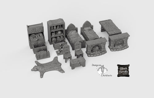 RPG Household Furniture Set - 28mm 32mm City of Tarok Wargaming Terrain Scatter D&D DnD Pathfinder Warhammer 40k