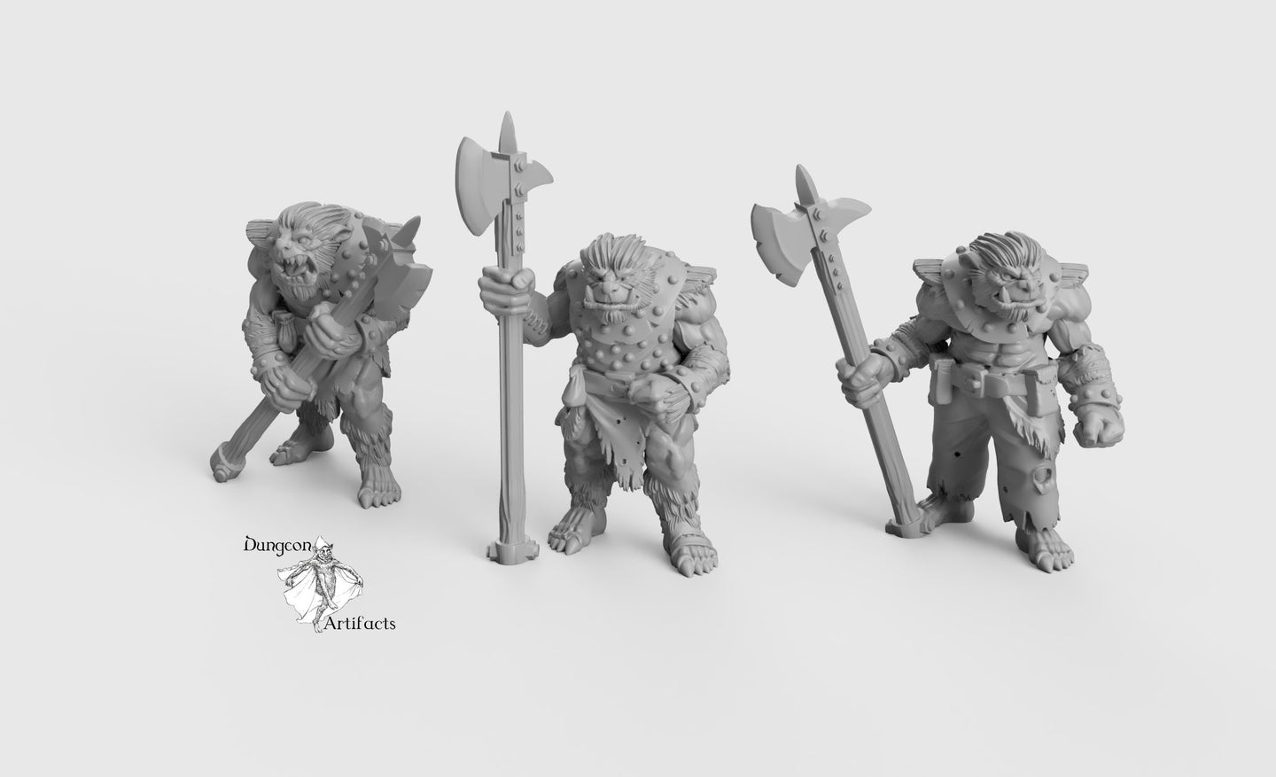 Bug Bears with Halberds - Wargaming Miniatures Monsters D&D, DnD, Pathfinder, SW Legion, Warhammer