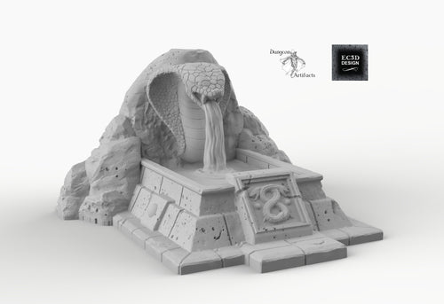 Snake Fountain - 15mm 28mm 32mm Empire of Scorching Sands Wargaming Terrain D&D, DnD, Pathfinder, SW Legion, Warhammer