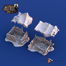 Load image into Gallery viewer, Beggar's Hovels - 28mm 32mm Wightwood Abbey Wargaming Tabletop Scatter Miniatures Terrain D&D, DnD, Pathfinder, SW Legion, Warhammer 40k