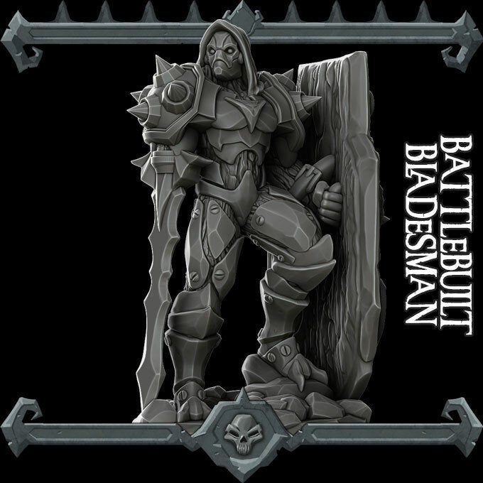 Battlebuilt Bladesman - Wargaming Miniatures Monster Rocket Pig Games D&D, DnD, Pathfinder, SW Legion, Warhammer