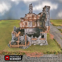 Load image into Gallery viewer, Ruined Winterdale Tavern - 15mm 28mm 32mm Clorehaven and the Goblin Grotto Wargaming Terrain D&D, DnD, Pathfinder, Warhammer, 40k