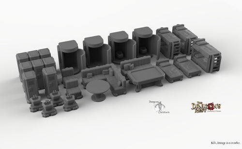 Sci-Fi Barracks Furniture Set - 28mm 32mm Dragon's Rest Wargaming Terrain Scatter D&D DnD Pathfinder Warhammer 40k