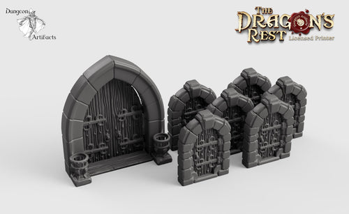 Dungeon Door Set - 28mm 32mm Dragon's Rest Wargaming Terrain Scatter D&D DnD Pathfinder Warhammer 40k