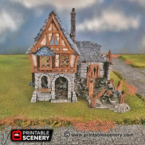 Ruined Winterdale Tavern - 15mm 28mm 32mm Clorehaven and the Goblin Grotto Wargaming Terrain D&D, DnD, Pathfinder, Warhammer, 40k