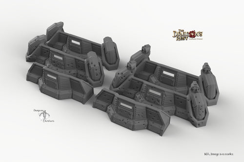 Sci-Fi Defense Barricades - 15mm 28mm 32mm Dragon's Rest Wargaming Terrain Scatter D&D DnD Pathfinder Warhammer 40k
