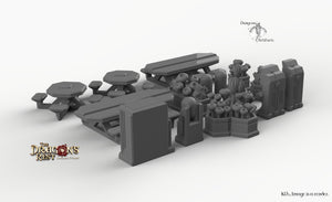 Sci-Fi Canteen Set - 28mm 32mm Dragon's Rest Wargaming Terrain Scatter D&D DnD Pathfinder Warhammer 40k