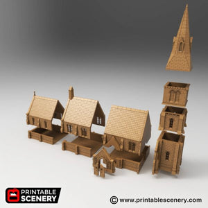 Ruined & Intact Medieval Church Bundle - 15mm 28mm 32mm 37mm Time Warp Wargaming Terrain Scatter D&D, DnD, Pathfinder, Warhammer, 40k