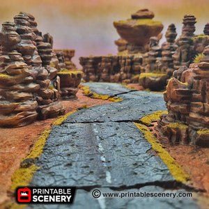 Desert Roads Straightaways - 15mm 20mm 28mm Brave New Worlds Dread Race Wargaming Terrain Gaslands D&D, DnD, Pathfinder, Warhammer, 40k