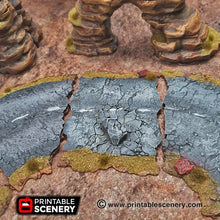 Load image into Gallery viewer, Desert Roads Straightaways - 15mm 20mm 28mm Brave New Worlds Dread Race Wargaming Terrain Gaslands D&D, DnD, Pathfinder, Warhammer, 40k