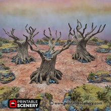 Load image into Gallery viewer, Twisted Trees - 15mm 28mm 20mm 32mm Brave New Worlds Wasteworld Gaslands Terrain Scatter D&D DnD Pathfinder Warhammer 40k