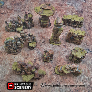 Canyon Rocks - 15mm 28mm 32mm Brave New Worlds New Eden Wargaming Terrain D&D, DnD, Pathfinder, Warhammer, 40k