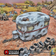Load image into Gallery viewer, Abandoned Camper Caravan - 15mm 28mm 20mm 32mm Brave New Worlds Wasteworld Gaslands Terrain Scatter D&D DnD Pathfinder Warhammer 40k
