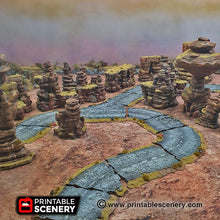 Load image into Gallery viewer, Desert Road Turns - 15mm 20mm 28mm Brave New Worlds Dread Race Wargaming Terrain Gaslands D&D, DnD, Pathfinder, Warhammer, 40k