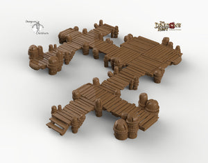 Large Piers and Docks - 28mm 32mm Dragon's Rest Wargaming Terrain Scatter D&D DnD Pathfinder Warhammer 40k