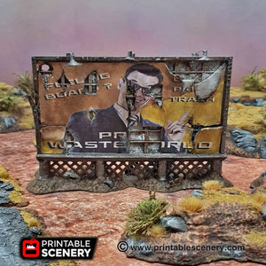 Dilapidated Billboard - 15mm 20mm 28mm 32mm Terrain Scatter Brave New Worlds Wasteworld Gaslands D&D DnD Pathfinder Warhammer 40k