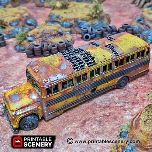 Abandoned School Bus - 15mm 28mm 20mm 32mm Brave New Worlds Wasteworld Gaslands Terrain Scatter D&D DnD Pathfinder Warhammer 40k