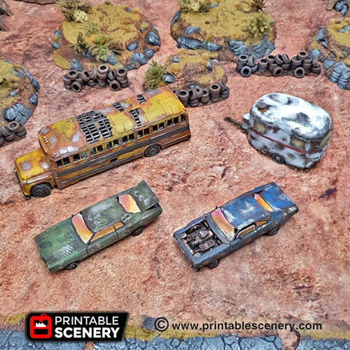 Abandoned Vehicle Set - 15mm 28mm 20mm 32mm Brave New Worlds Wasteworld Gaslands Terrain Scatter D&D DnD Pathfinder Warhammer 40k