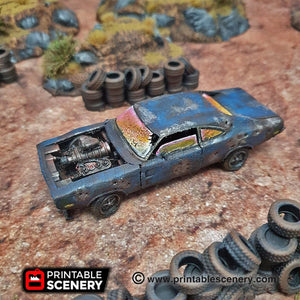 Abandoned Dodge Charger - Car 15mm 28mm 20mm 32mm Brave New Worlds Wasteworld Gaslands Terrain Scatter D&D DnD Pathfinder Warhammer 40k