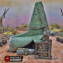 Load image into Gallery viewer, Cargo Plane Entrance - 15mm 28mm 20mm 32mm Brave New Worlds Wasteworld Gaslands Terrain Scatter D&D DnD Pathfinder Warhammer 40k
