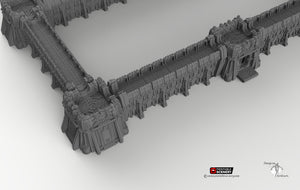 Sithic Fortified Walls Perimeter - 15mm 28mm 32mm Printable Scenery, Brave New Worlds, Sithic Outpost, Wargaming Tabletop, Warhammer 40k