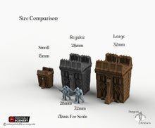 Load image into Gallery viewer, Sithic Fortified Walls Perimeter - 15mm 28mm 32mm Printable Scenery, Brave New Worlds, Sithic Outpost, Wargaming Tabletop, Warhammer 40k