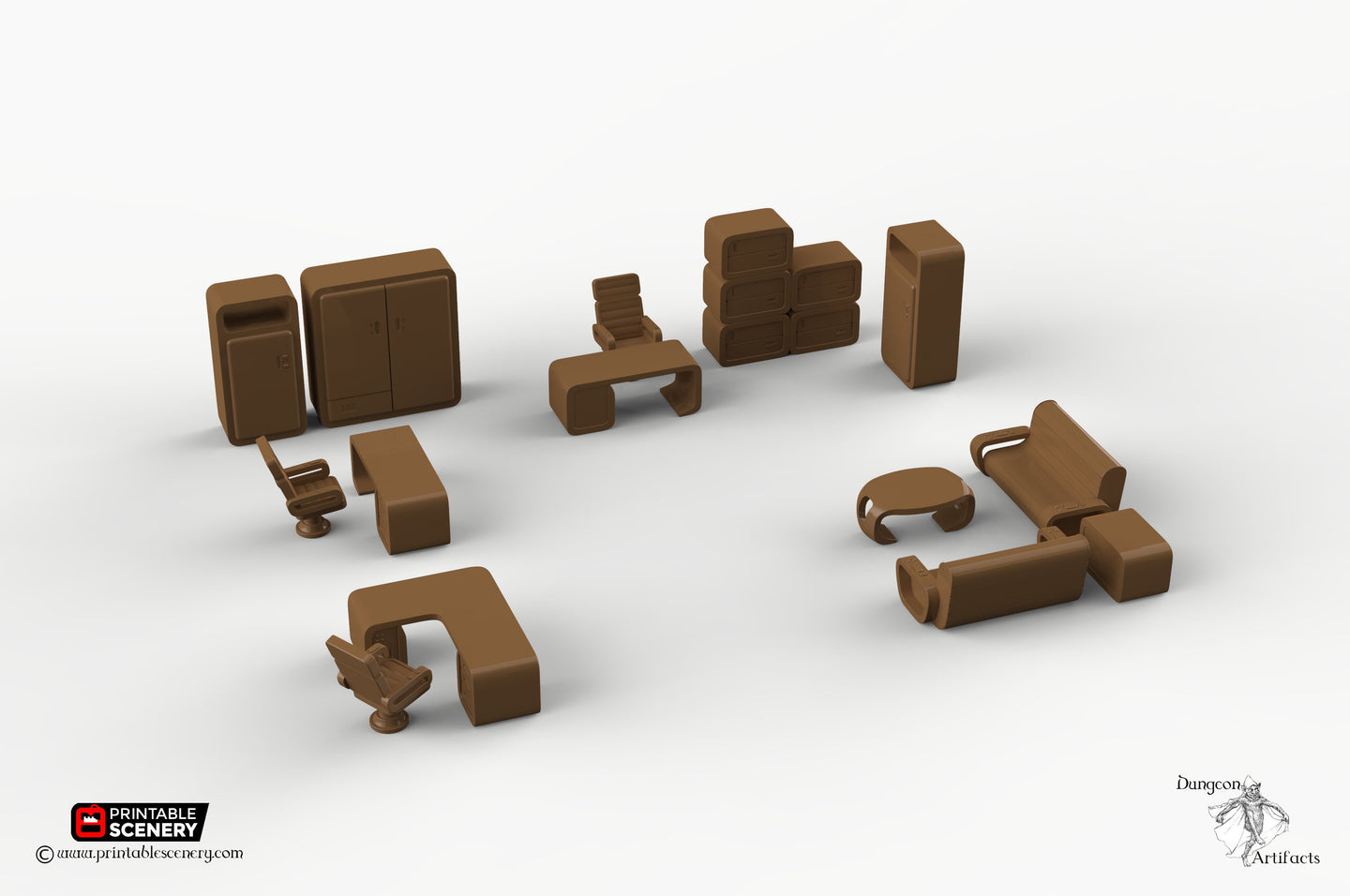 Cyberpunk Office Furniture Set - 28mm 32mm Brave New Worlds Tabletop Scatter Miniatures Terrain D&D, DnD, Pathfinder, Warhammer, 40k