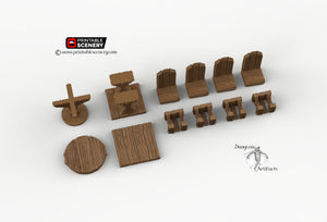 Simple RPG Chairs and Tables - 28mm 32mm Furniture Clorehaven and Goblin Grotto Wargaming Terrain Scatter D&D DnD Pathfinder Warhammer 40k