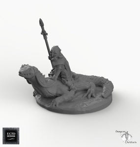 Dark Elf Lizard Rider - EC3D Skyless Realms Wargaming Miniature D&D DnD Pathfinder Warhammer 40k Drow Forgotten Realms