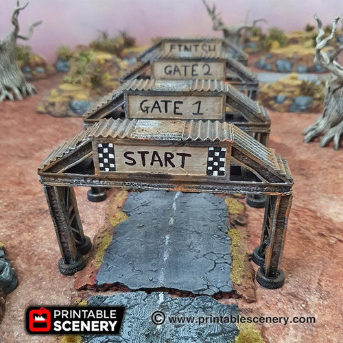 Checkpoint Racing Sign - 15mm 28mm 20mm 32mm Brave New Worlds Wasteworld Gaslands Terrain Scatter D&D DnD Pathfinder Warhammer 40k