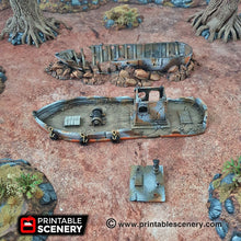 Load image into Gallery viewer, Ruined Fishing Boat - 15mm 28mm 20mm 32mm Brave New Worlds Wasteworld Gaslands Terrain Scatter D&D DnD Pathfinder Warhammer 40k