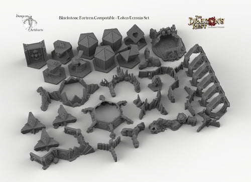 Blackstone Fortress Compatible Trihex Citadel Token and Marker Sets - Dragon's Rest Wargaming Terrain Scatter Warhammer 40k
