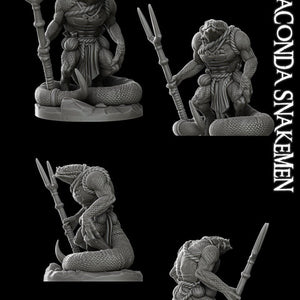 Anaconda Snakeman - Lizard Man - Wargaming Miniatures Monster Rocket Pig Games D&D, DnD, Pathfinder, SW Legion, Warhammer