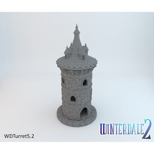 Round Tower with Turret - 15mm 28mm 32mm Winterdale Wargaming Tabletop Scatter Terrain D&D DnD Warhammer