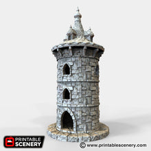 Load image into Gallery viewer, Round Tower with Turret - 15mm 28mm 32mm Winterdale Wargaming Tabletop Scatter Terrain D&D DnD Warhammer