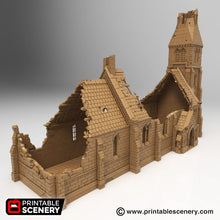 Load image into Gallery viewer, Ruined & Intact Medieval Church Bundle - 15mm 28mm 32mm 37mm Time Warp Wargaming Terrain Scatter D&D, DnD, Pathfinder, Warhammer, 40k