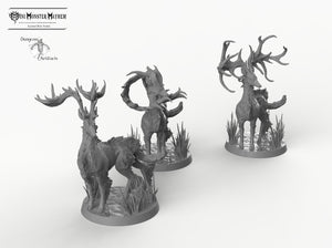 Stags - Fantastic Elk - Buck Deer Mini Monster Mayhem Wargaming Miniatures Games D&D DnD Pathfinder Warhammer