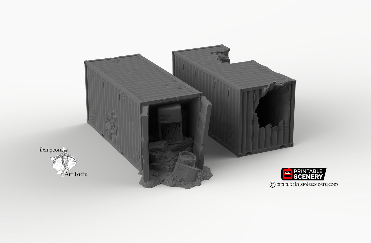 Wasteland Shipping Containers - 15mm 28mm 20mm 32mm Brave New Worlds Wasteworld Gaslands Terrain Scatter D&D DnD Pathfinder Warhammer 40k